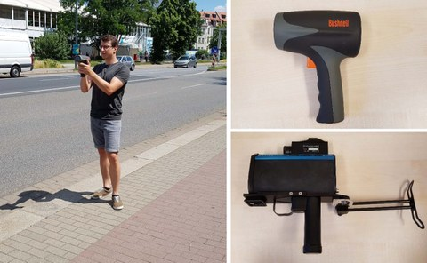The image for mobile speed detection consists of three single images. The first image shows a person with a radar pistol. The other two images show the measurement technique itself, the radar and the laser pistol respectively.