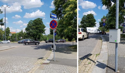 The image for static speed detection consists of two single images. The first image shows the camera in action from a further distance. The second image shows the camera in action from a closer distance.