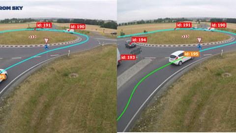 """Das Bild zeigt, wie die Software """"Data From Sky""""  die Videoaufnahmen des fließenden Verkehrs analysiert."""