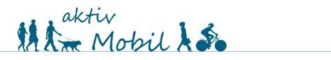 Das Bild zeigt das Logo, das für das Projekt zur aktiven Mobilität erarbeitet wurde. Darauf sind Personen, die zu Fuß gehen, eine Person, die einen Hund ausführt und eine Radfahrende Person schematisch abgebildet. Das sind Formen aktiver Mobilität.
