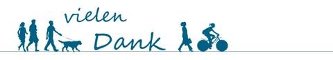 """Das Bild zeigt das Logo, das für das Projekt zur aktiven Mobilität erarbeitet wurde. Auf dem Bild ist zusätzlich der Schriftzug """"Vielen Dank"""" angebracht."""