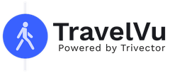 """The picture shows the logo of the app """"TravelVu""""."""