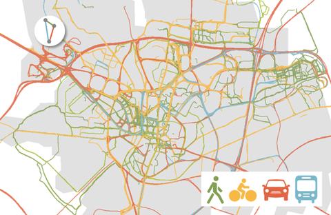 Das Bild zeigt eine Heatmap basierend auf zusammengefassten GPS-Tracks.