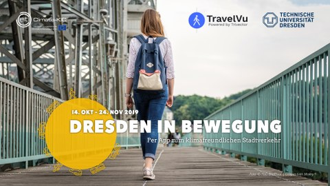 """The picture shows the logo of the survey """"Dresden on the move"""" and a young woman walking across the Loschwitz bridge """"Blaues Wunder""""."""