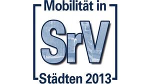 """Die Grafik zeigt das Logo der Erhebung """"Mobilität in Städten – SrV 2013""""."""