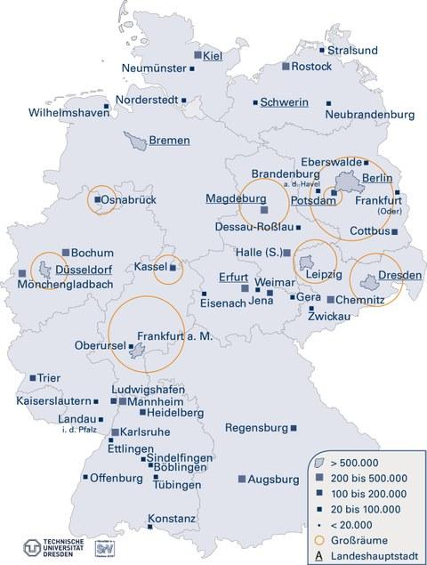 Die Grafik zeigt eine Deutschlandkarte, in der die Lage von allen SrV-Städten und Untersuchungsräumen markiert und beschriftet ist.