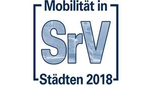 """Die Grafik zeigt das Logo der Erhebung """"Mobilität in Städten – SrV 2018""""."""