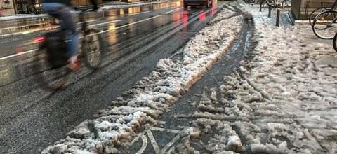 Mangelhafter Winterdienst auf Radverkehrsanlagen