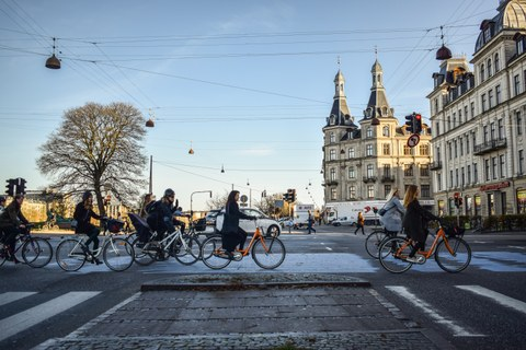 Cyclists in the city of Copenhagen