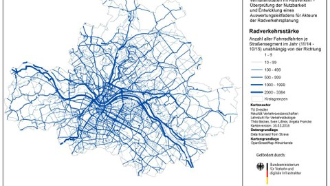 Karte der Radverkehrsstärken der LH Dresden