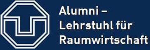 """Das Logo der TU Dresden, daneben der Schriftzug """"Alumni - Lehrstuhl für Raumwirtschaft""""."""