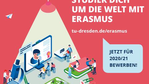 """Abbildung des Flyers """"Studier Dich um die Welt mit Erasmus"""" der TU Dresden."""