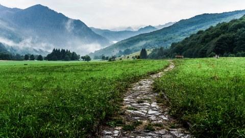 Ein Weg führt durch eine grüne Wiese in einem Tal, im Hintergrund liegt Nebel zwischen Bergen.
