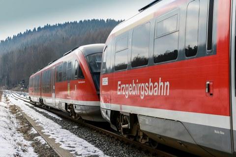 Two wagons of the Erzgebirgsbahn.