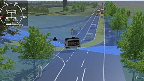 Grafik einer langen Straße. Ein automatisierter Bus bieht ab.