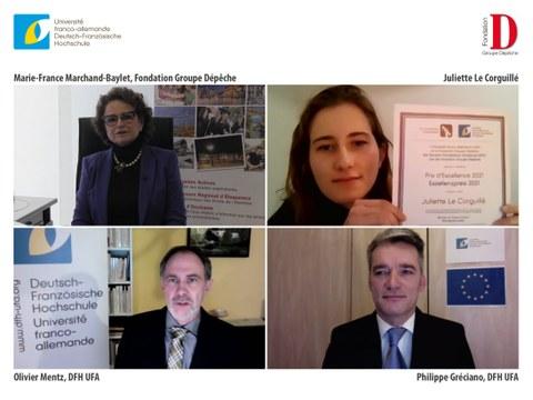 Screenshot von Videokonferenz mit Preistzrägerin und drei weiteren Personen, eine Frau, zwei Männer. Preisträgerin hält Urkunde in die Kamera.