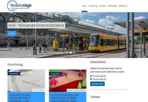 Ein Screenshot einer Website. Oben ist ein Bild mit einer Tram vor einem bahnhof, darunter text- und Fotoboxen.