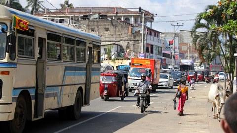 Eine unübersichtliche Straßensituation in Sri lanka mit Bus, Autos, Tuk Tuks, Fußgängerin und Kuh.