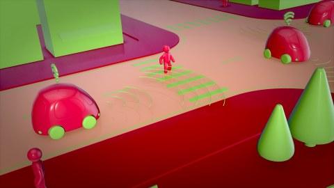 Grafik, auf der 2 rote Autos autonom fahren, dazwischen ein Fußgänger, der über Sensoren wahrgenommen wird.