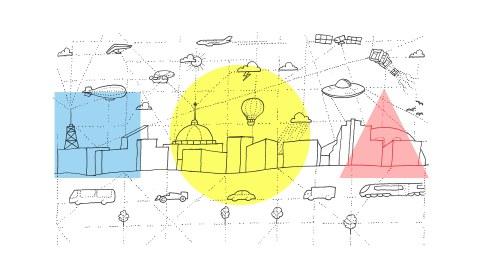Grafik einer Stadt mit verschiedenen Verkehrsmitteln zu Land und in der Luft. Diese sind durch Linien miteinander verbunden.
