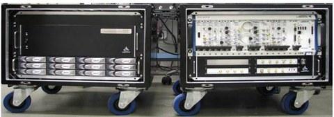 HF-System in transportablen Box mit Festplattenarray