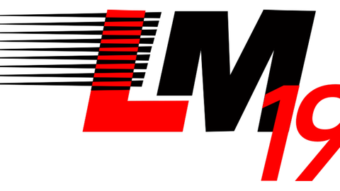 Logo LM 2019: Black parallel lines before a red L. After the L there is a black M and then below overlapping a red 19.