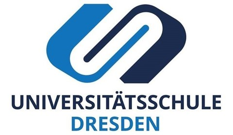 """Logo of the university school Dresden. Two U's interlocking in 2 different shades of blue. Underneath the logo """"Universitätsschule Dresden"""" in two different shades of blue."""