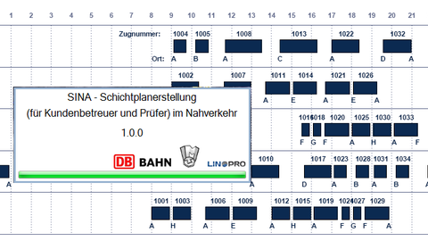 Shift schedule with blue boxes in the respective time.