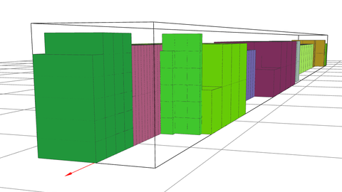 Different rectangular shapes in different colors are used to represent the piling up of goods in a container.