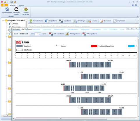 Screenshot of the shift plan creation of DB regio with SINA.