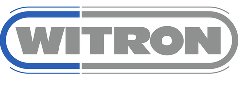 """WITRON logo consisting of a grey lettering """"WITRON"""" in a blue-grey ellipse."""
