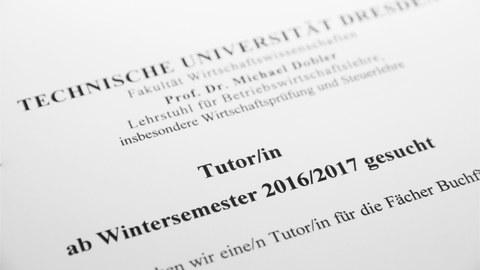 Ausschreibung - Tutor/in für Buchführung und Jahresabschluss WS 2016/17