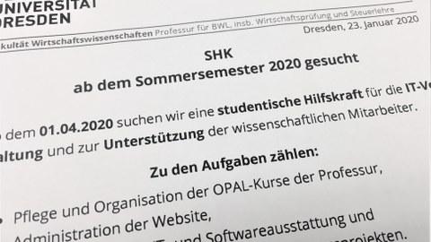 Ausschreibung SHK IT SoSe 2020