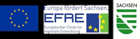 Logos von der EU und Sachsen