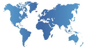 Graphic of the world map in blue