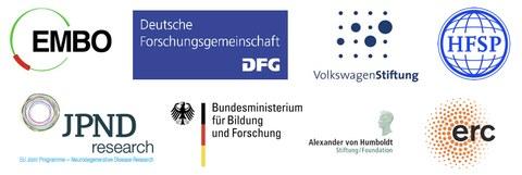 Logos: EMBO, DFG, VolkswagenStiftung, HFSP, JPND research, Bundesministerium für Bildung und Forschung, Alexander von Humboldt Stiftung, erc
