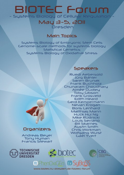 2011 BIOTEC Forum Poster. Title + Date. Main Topics: systems biology of embryonic stem cells, genome-scale methods for systems biology, statistical genetics, and oxidative stress. Speakers. Organizers.