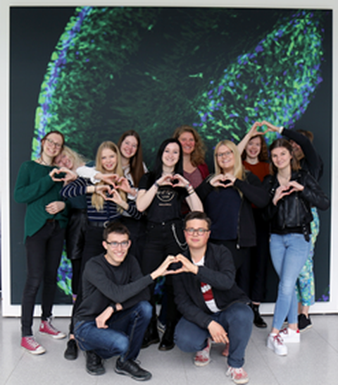 11 students in front of the CRTD banner, internship 2019