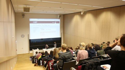 Photo of the CRTD (left) auditorium with students
