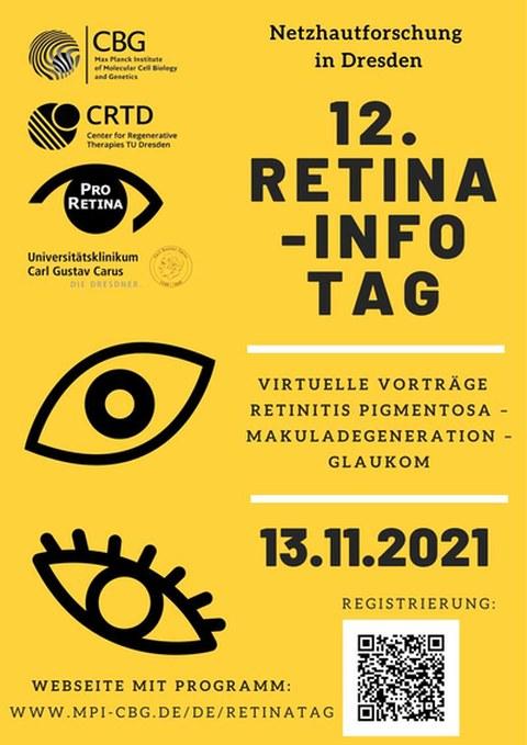 Poster für die 12. Retinatag, der am 13.11.2021 stattfindet. Zwei verschiedene schwarze Icons, die Augen darstellen, auf einem leuchtend gelben Hintergrund.