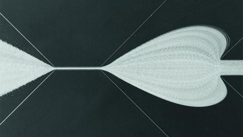 Real-Time Deformability Cytometry (RT-DC) zur Bestimmung des mechanischen Fingerabdrucks von Blut. Dabei fließen Zellen mit 10 cm/s von rechts nach links durch eine mikrofluidische Kanalstruktur (Breite des Bildausschnitts: 1.5 mm). Durch den von oben rechts und unten rechts einfließenden Hüllstrom werden die Zellen für die Messung der Zellverformung im schmalsten Teil des Kanals fokussiert. Es entstehen herzförmige Stromlinien, welche hier durch invertierte Überlagerung vieler Einzelbilder geze