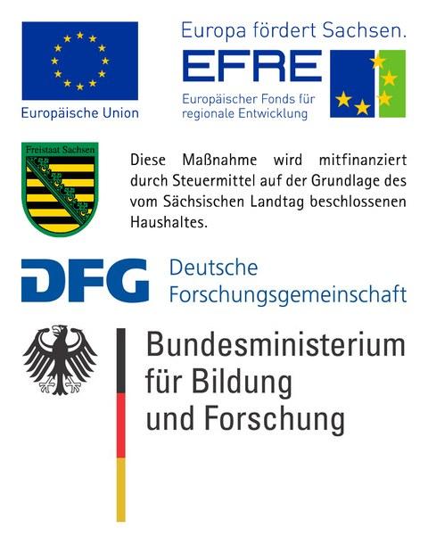 Logos EFRE/EU, Freistaat Sachsen, DFG, BMBF
