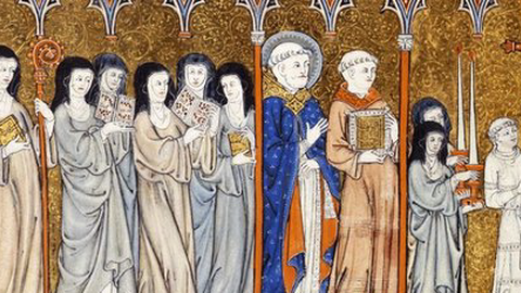 A procession is led by a clerk carrying a processional cross, followed by a priest, and nuns, two with open books, and the abbess with book and crozier.