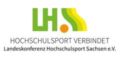 """Grafik Logo des Landesverbandes Hochschulsport mit Motto """"Hochschulsport verbindet"""""""