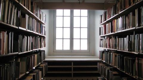 Foto: Blick auf ein Fenster mit weißen Unterteilungen, links und rechts stehen Regale mit Büchern