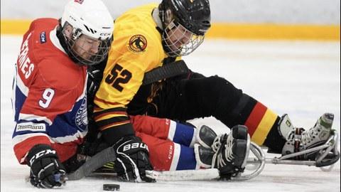 Foto: Zwei Para-Eishockeyspieler auf Schlitten auf dem Eis