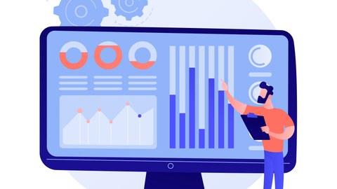 Grafik: Mann steht vor großen Computerbildschirm mit Diagrammen