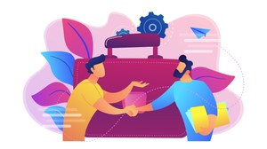 Grafik: zwei Männer schütteln sich die Hände