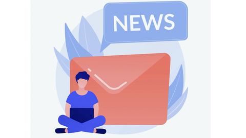 Grafik: vor einem großen roten Briefumschlag sitzt ein Mann mit Laptop, darüber der Schriftzug News