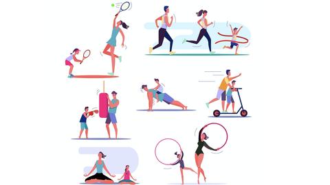Grafik: Grafiken im Kreis angeordnet von Erwachsenen und Kindern beim Sport